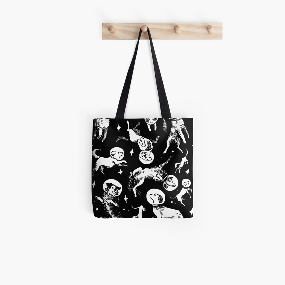 Space dogs (black background) Tote Bag