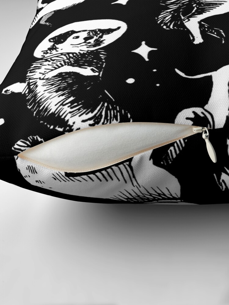 Alternate view of Space dogs (black background) Throw Pillow