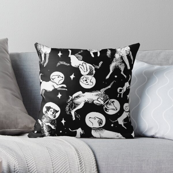 Space dogs (black background) Throw Pillow