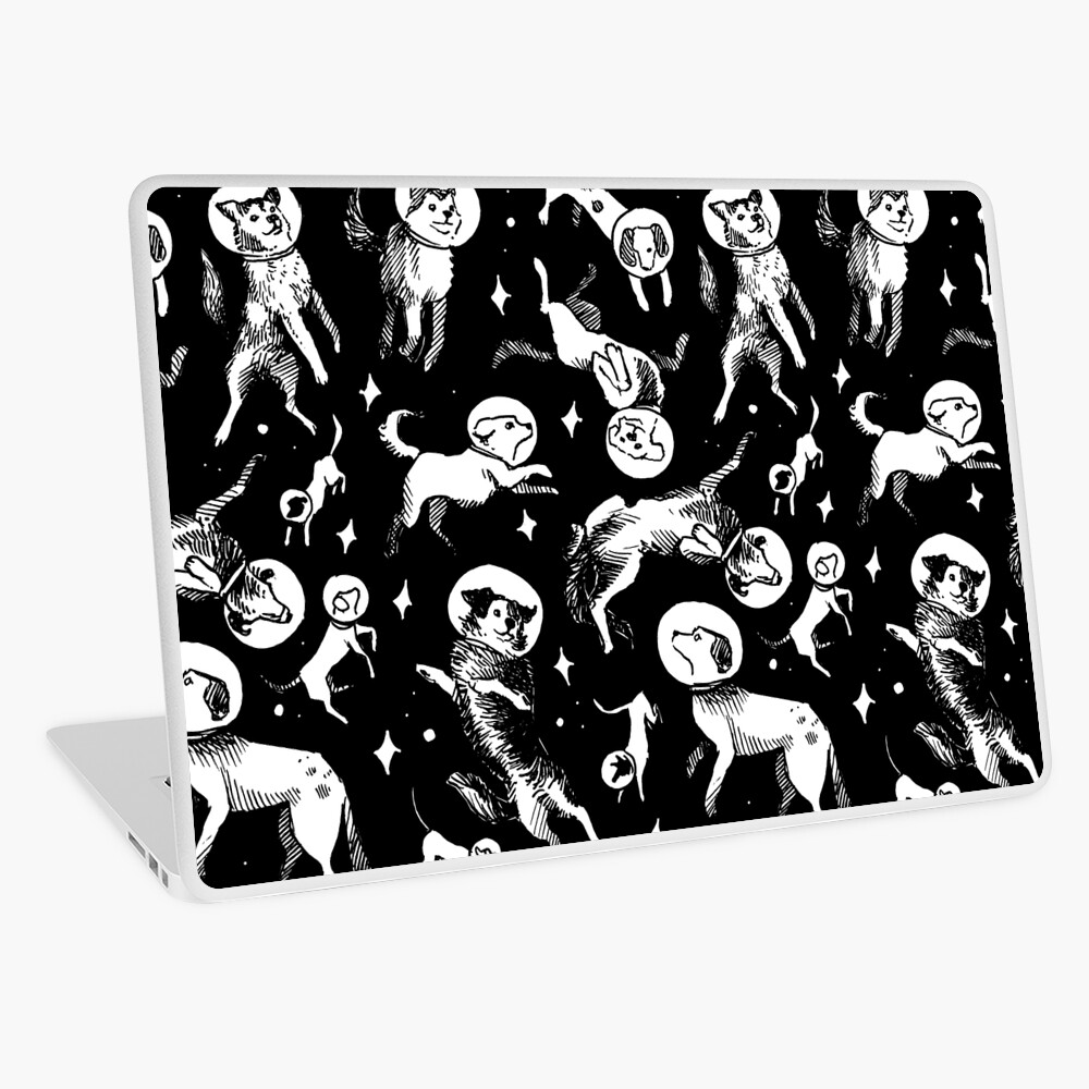 Space dogs (black background) Laptop Skin