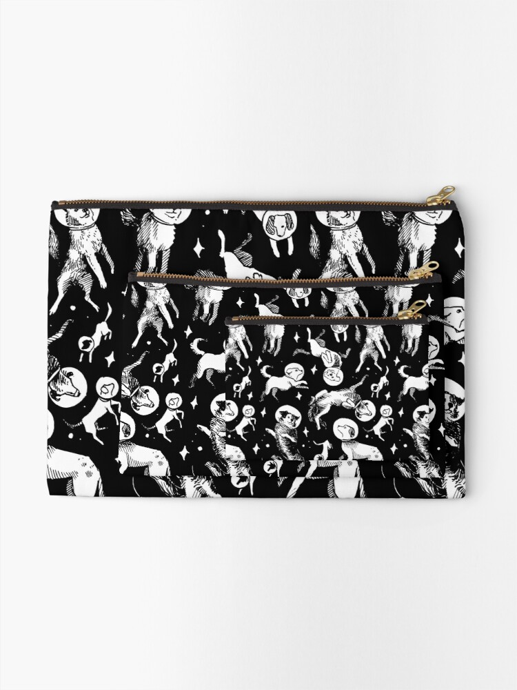 Alternate view of Space dogs (black background) Zipper Pouch