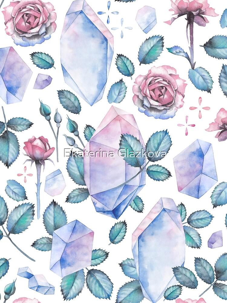 Nette Aquarellsammlung Rosen und Kristalle von Glazkova