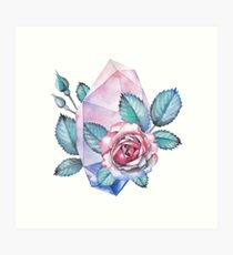 Cute watercolor collection of roses and crystals Art Print