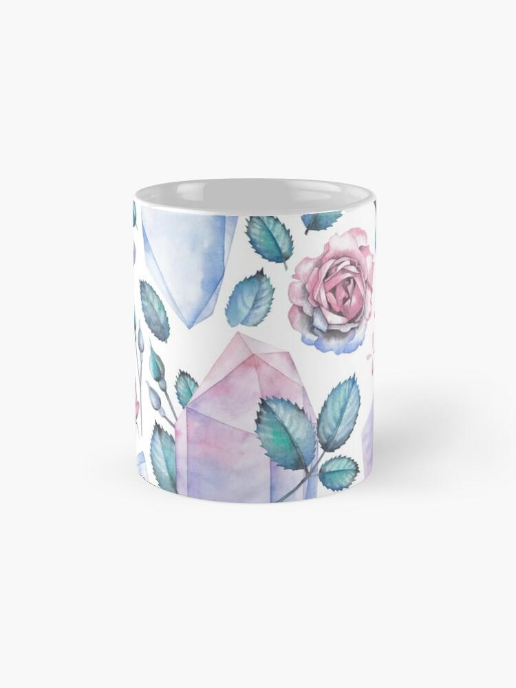 Alternative Ansicht von Nette Aquarellsammlung Rosen und Kristalle Tasse