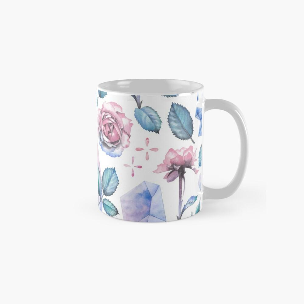 Nette Aquarellsammlung Rosen und Kristalle Tasse
