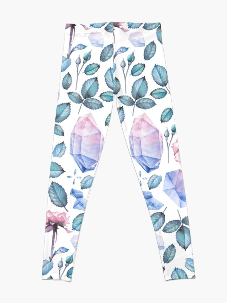 Alternative Ansicht von Nette Aquarellsammlung Rosen und Kristalle Leggings