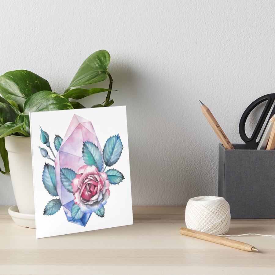Nette Aquarellsammlung Rosen und Kristalle Galeriedruck