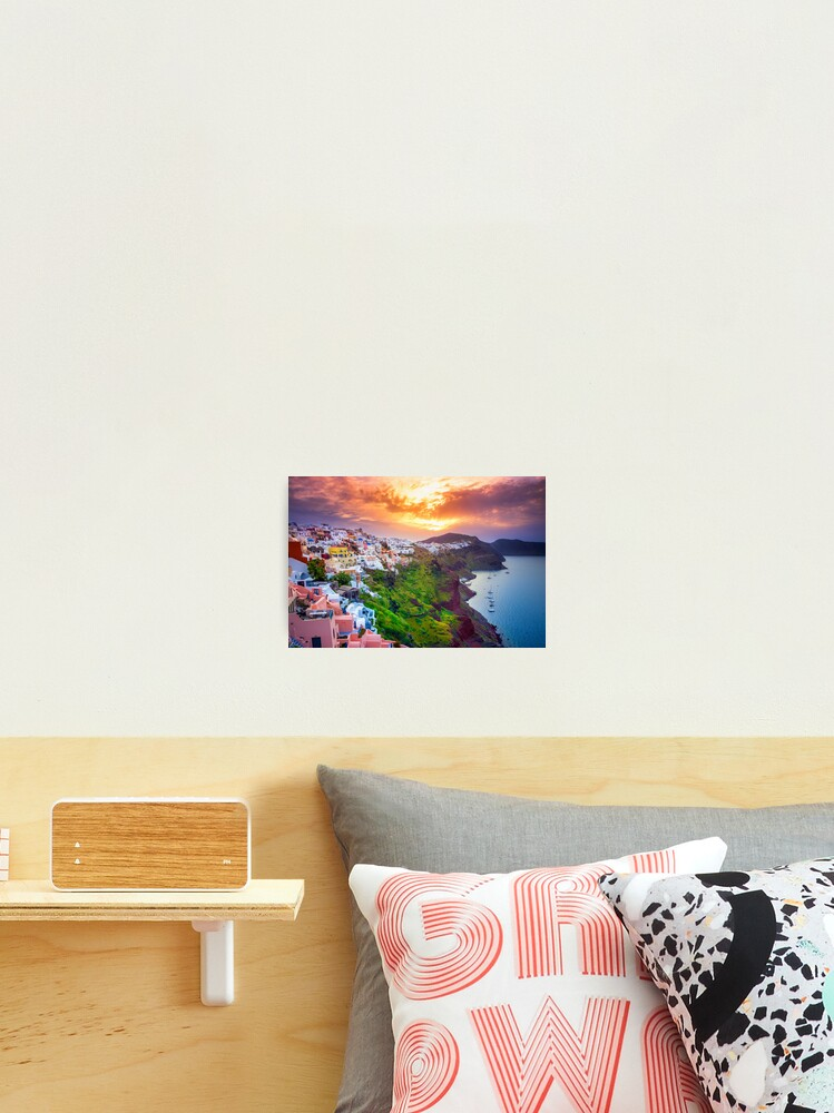 Sunrise Over Santorini Island in Greece Poster Prints Wall Pictures