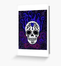 Skull with Blue Flames Greeting Card