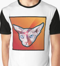 Angry Cat, White on Orange Graphic T-Shirt