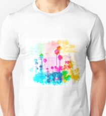 palm tree wth colorful painting abstract background in pink blue green red yellow T-Shirt