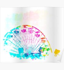 ferris wheel in the city with colorful painting abstract in blue pink yellow green Poster