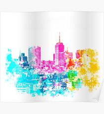 city at San Francisco, USA with colorful abstract background in pink blue yellow green Poster