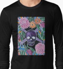 Purple Skull with Flowers T-Shirt