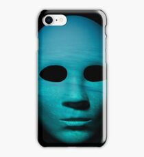 Textured mask with underwater painted surface, neutral expression on dark background. iPhone Case/Skin