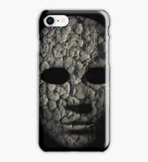 Textured mask with cracked rough wood  painted surface, neutral expression on dark background. iPhone Case/Skin