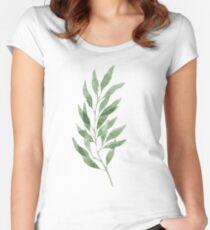 Green watercolor eucalyptus branch pattern Women's Fitted Scoop T-Shirt