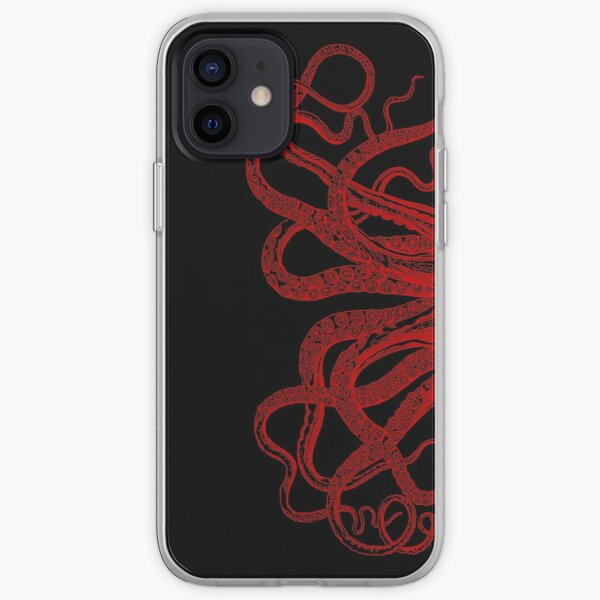 Red Vintage Octopus  Tentacles Illustration iPhone Soft Case