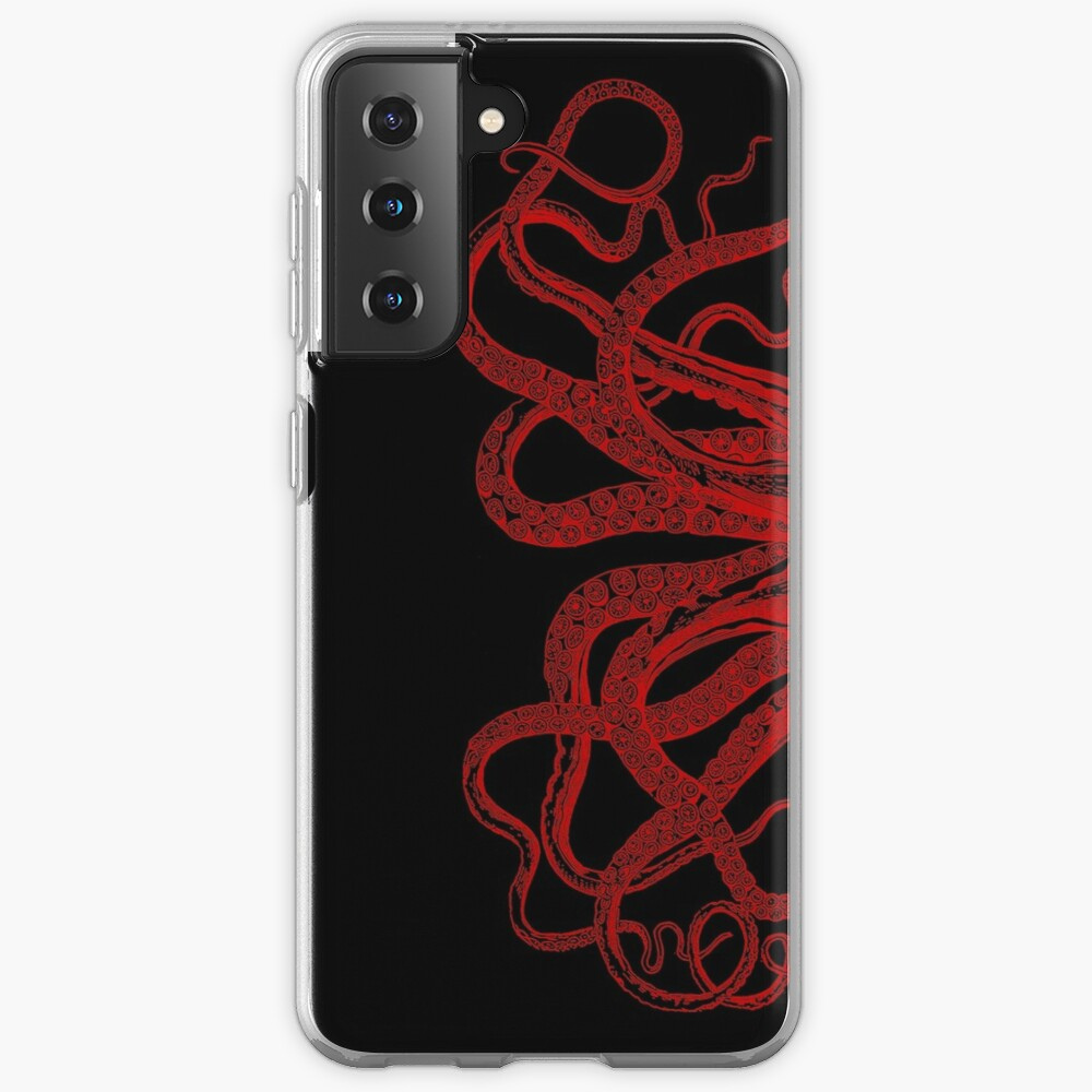Red Vintage Octopus  Tentacles Illustration Case & Skin for Samsung Galaxy