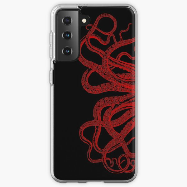 Red Vintage Octopus  Tentacles Illustration Samsung Galaxy Soft Case