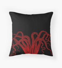 Red Vintage Octopus  Tentacles Illustration Throw Pillow