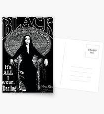 """BLACK- It's All I Wear""- Morticia Addams Postcards"