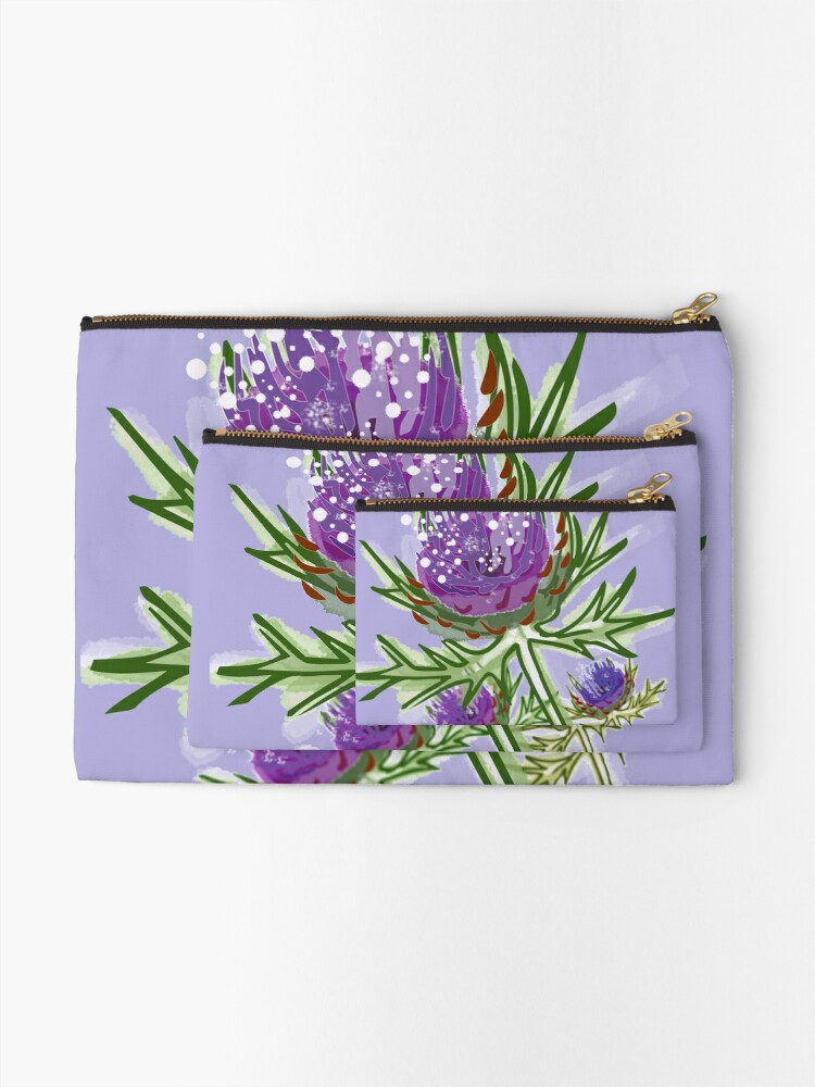 Alternate view of Thistle design in paint for smaller items Zipper Pouch