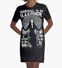 "Morticia Addams-""Normal Is An Illusion..."" Graphic T-Shirt Dress"