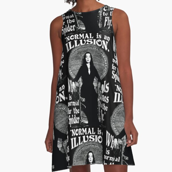 """Morticia Addams-""""Normal Is An Illusion..."""" A-Line Dress"""