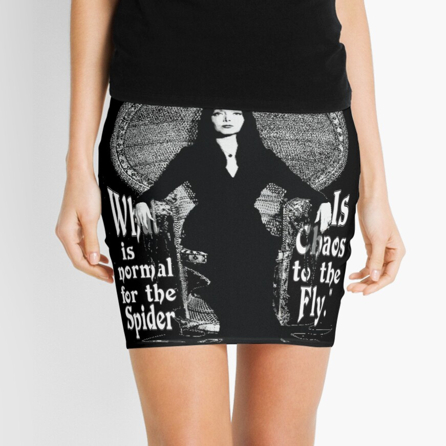 """Morticia Addams-""""Normal Is An Illusion..."""" Mini Skirt"""