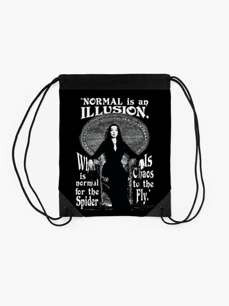 "Alternate view of Morticia Addams-""Normal Is An Illusion..."" Drawstring Bag"