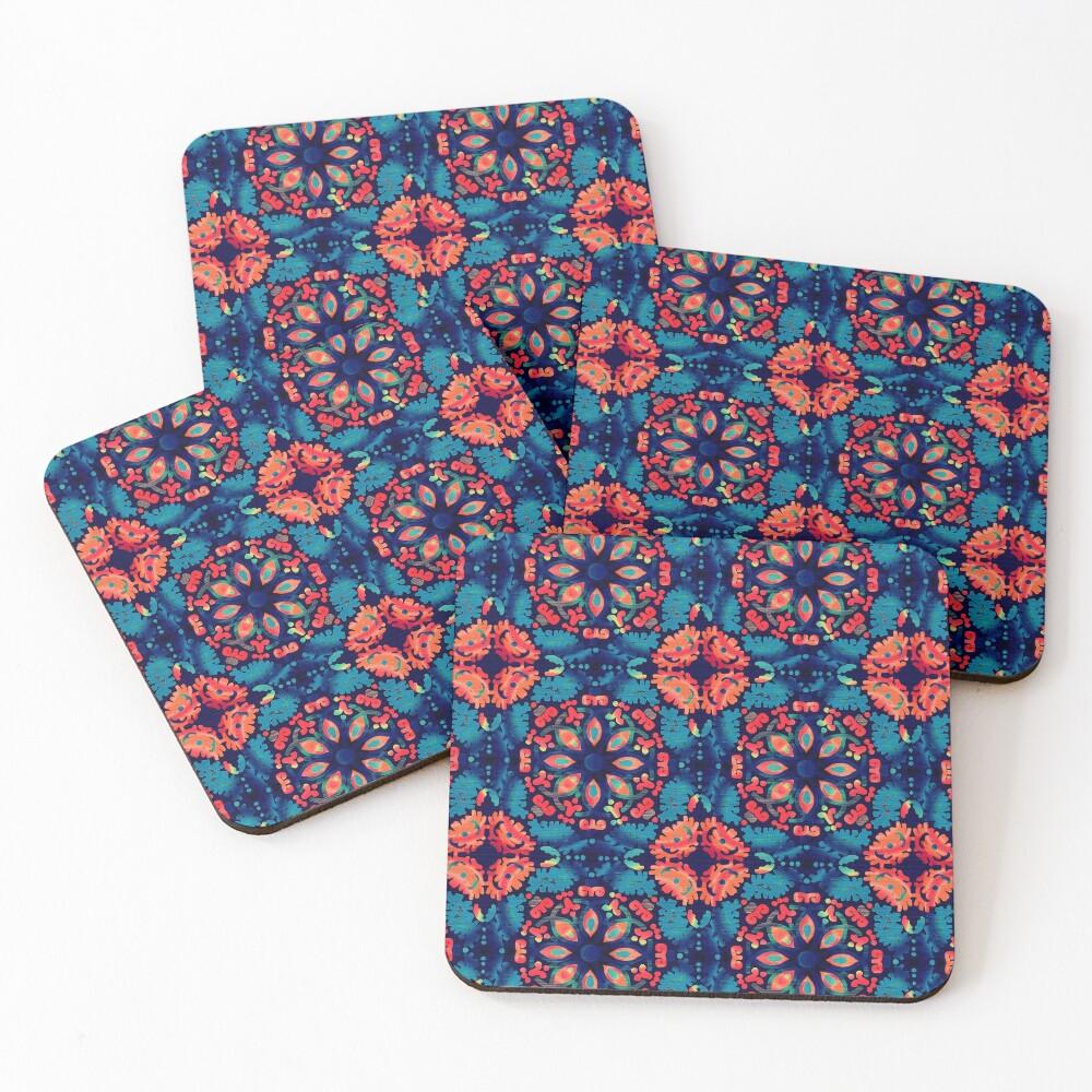 Orange and Blue Tile Coasters (Set of 4)