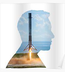 Elon Musk Rocket Landing Silhouette Poster
