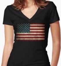 American Flag  Women's Fitted V-Neck T-Shirt