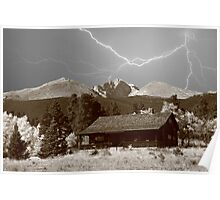 Mountain Lightning Landscape Poster