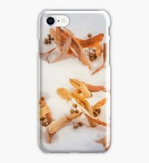 Beautiful golden leaves in the snow postcard iPhone Case/Skin