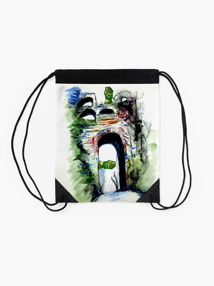 Alternate view of Arco Felice With Dragons Drawstring Bag