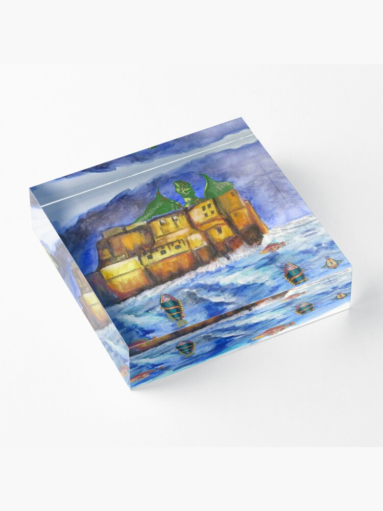 Alternate view of Stormy Castle Infested Acrylic Block
