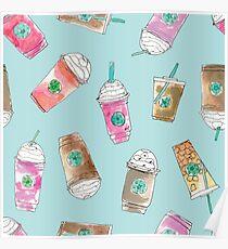 Coffee Crazy Toss in Aqua Poster
