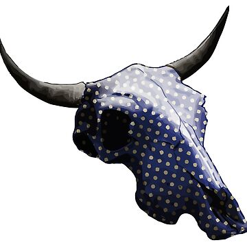 White Dots on Blue Pattern Cow Skull Design v.5  by GLOBEXIT