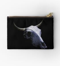 White Dots on Blue Pattern Cow Skull Design v.5  Studio Pouch