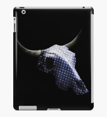 White Dots on Blue Pattern Cow Skull Design v.5  iPad Case/Skin