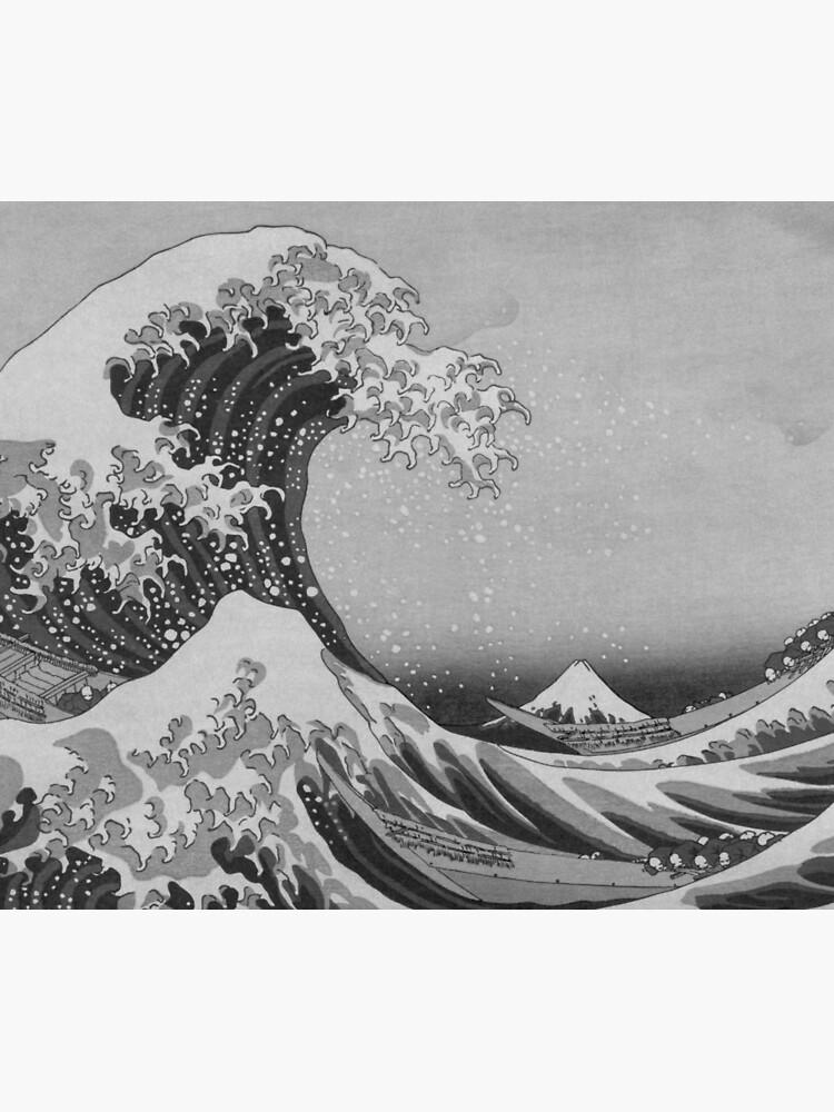 Black and White Japanese Great Wave off Kanagawa by Hokusai by podartist