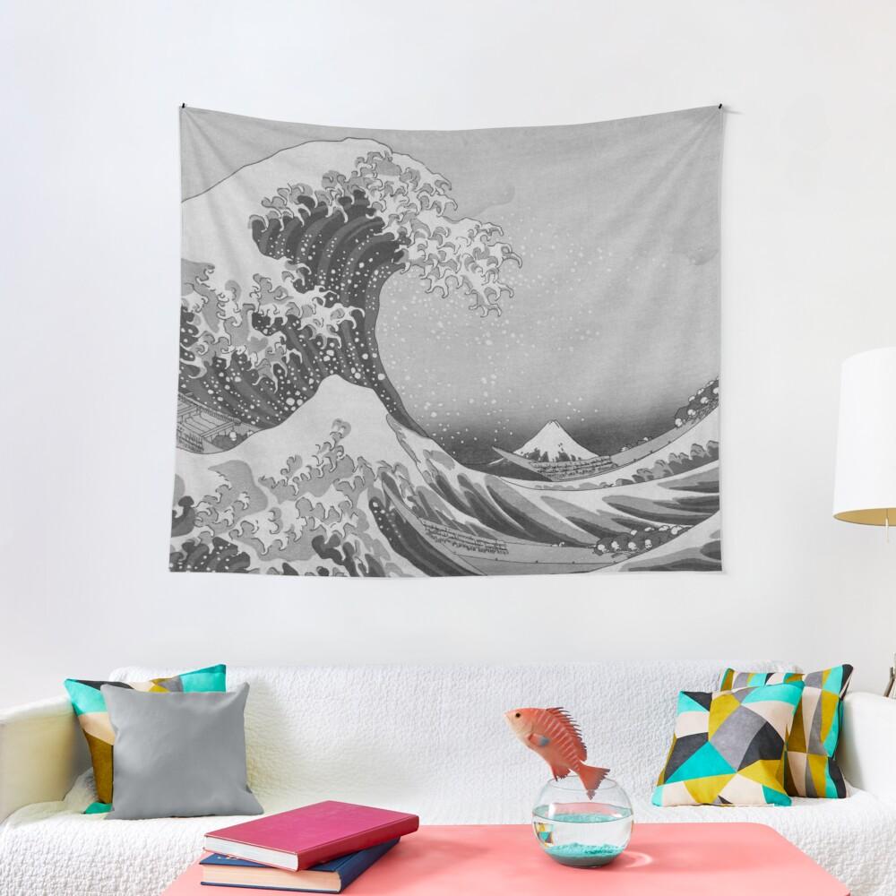 Black and White Japanese Great Wave off Kanagawa by Hokusai Tapestry