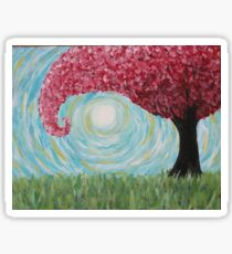 Abstract Windy Pink Tree Sticker