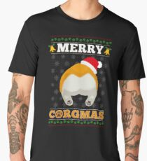 Funny Merry Corgmas Santa Corgi Ugly Xmas Sweater Men's Premium T-Shirt