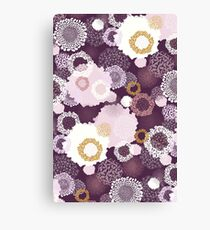 Doily Flowers in Pink, White and Mustard on Purple Canvas Print