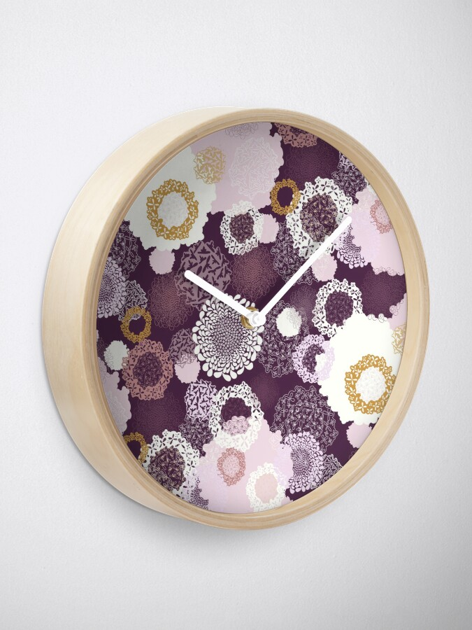 Alternate view of Doily Flowers in Pink, White and Mustard on Purple Clock