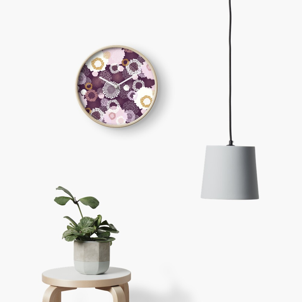 Doily Flowers in Pink, White and Mustard on Purple Clock