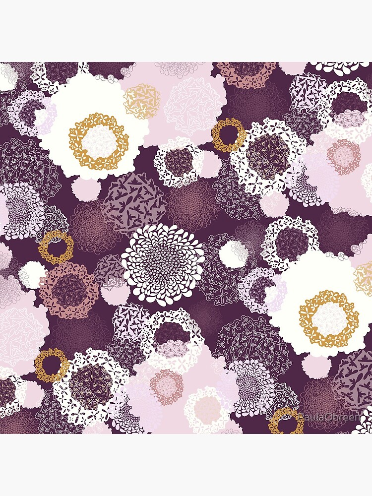 Doily Flowers in Pink, White and Mustard on Purple by PaulaOhreen